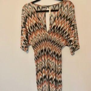 5/25 cape sleeve waist cinching stretchy dress